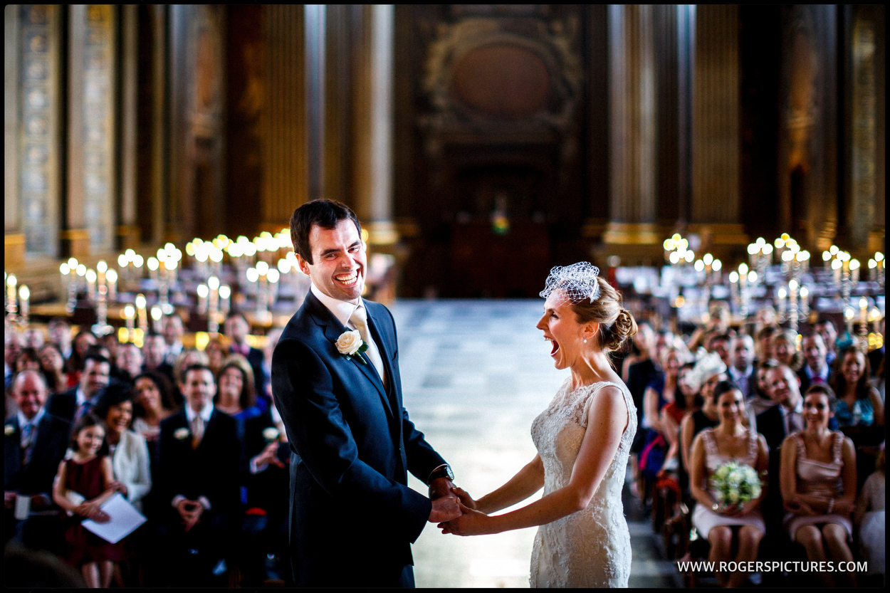Photo of Bride and Groom as they marry at Old Royal Naval College in London