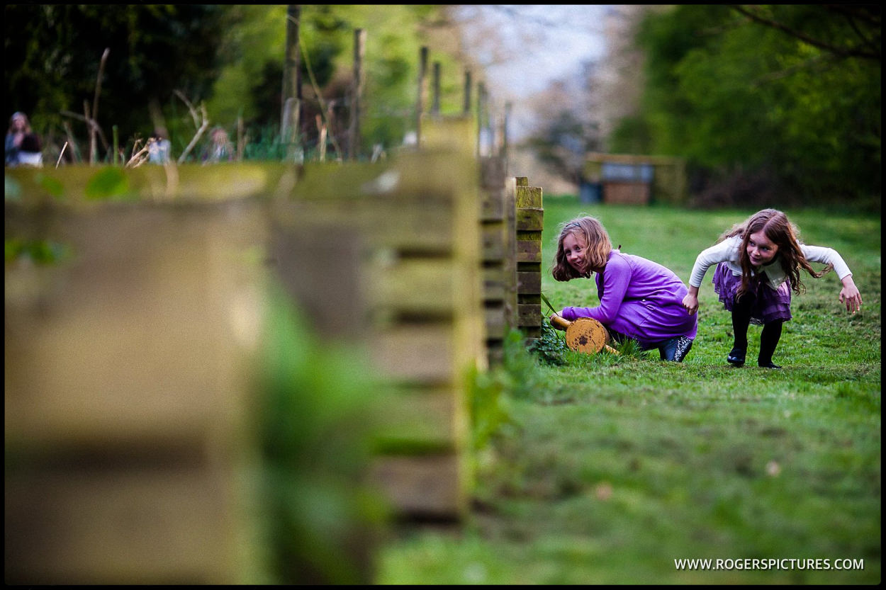 Children playing at a Amersham wedding in Buckinghamshire