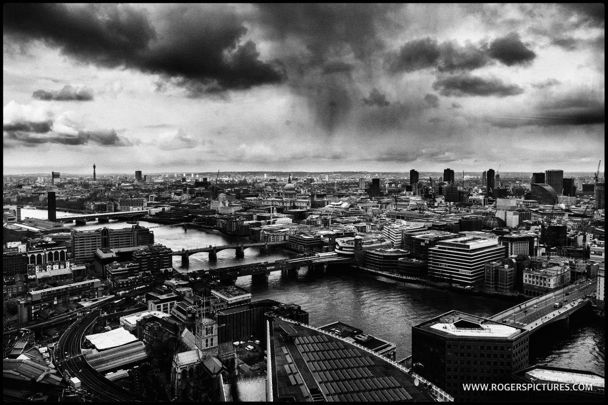 View across London skyline from The Shard before a wedding