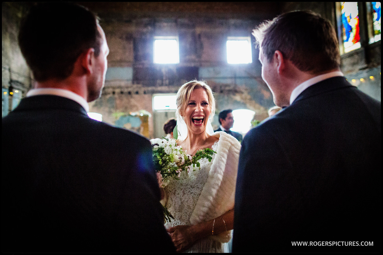 Bride during the ceremony at Asylum in London