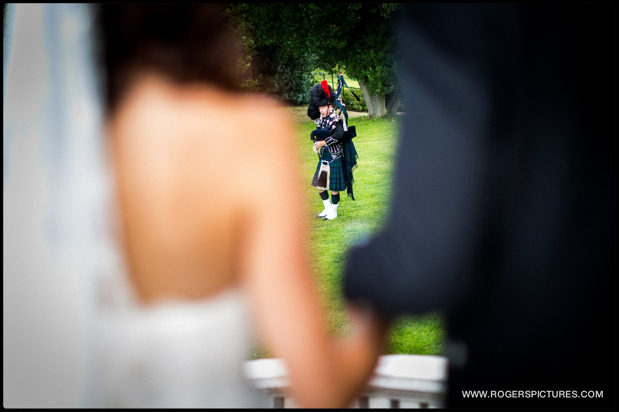 Scottish piper at Botleys mansion wedding