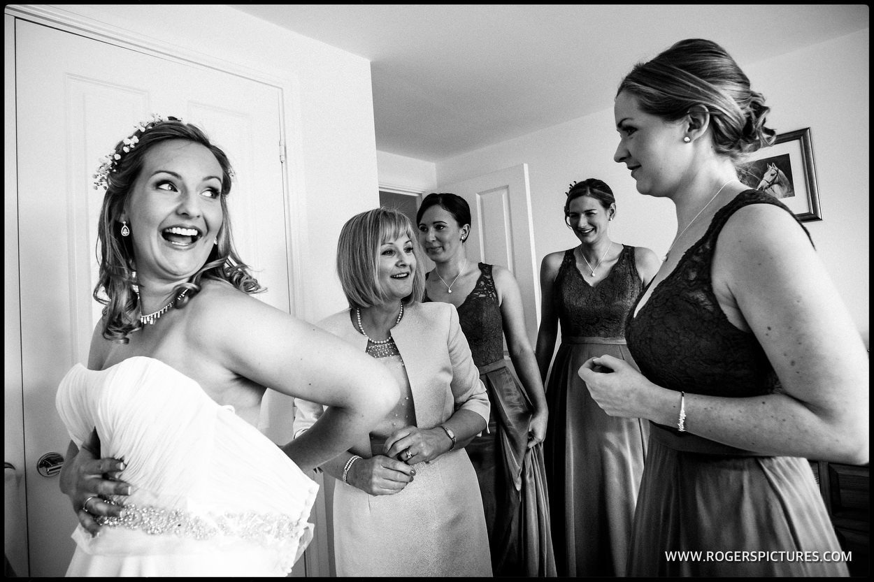 Bridal preparations at a wedding in the Home Counties