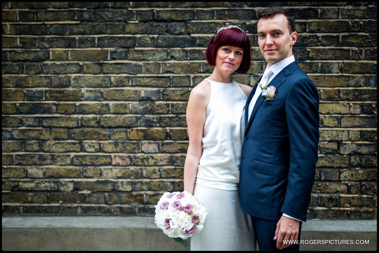 Bride and groom portrait at Burgh House in Hampstead