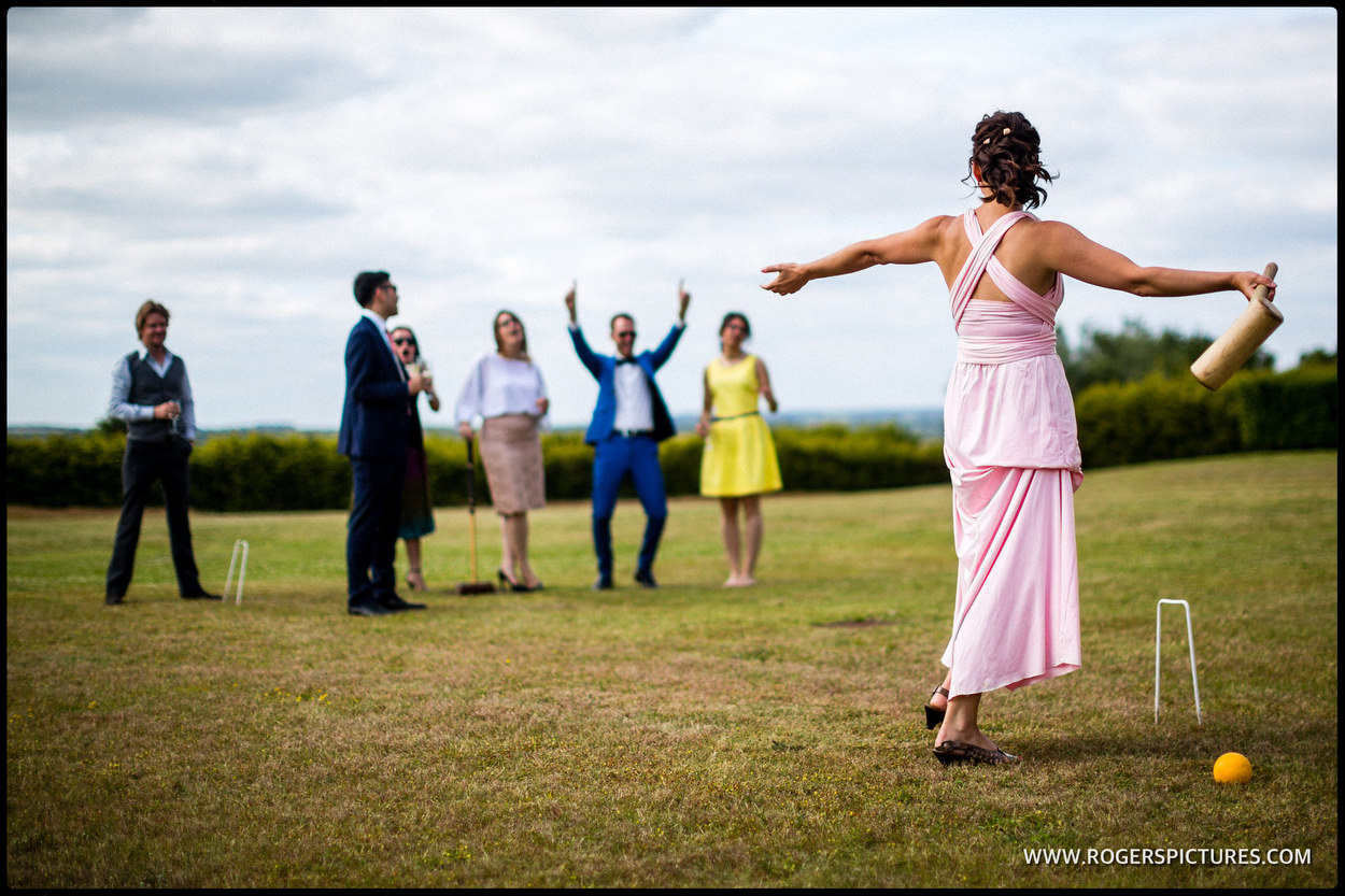 Croquet at an outdoor wedding