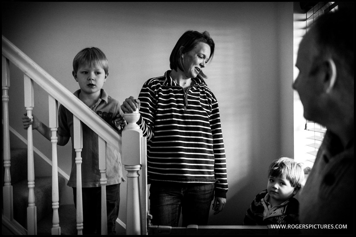 Family on stairway