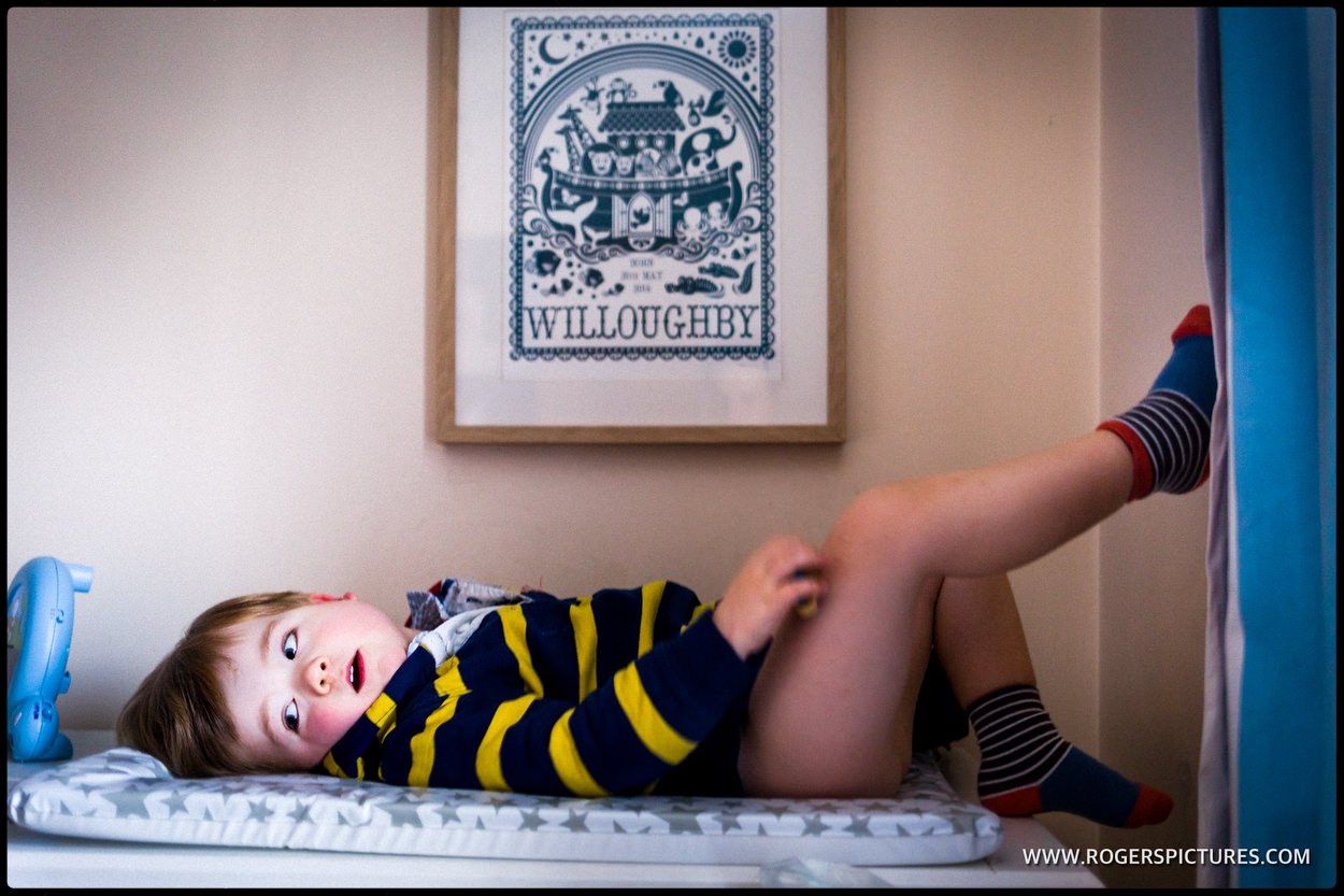 Toddler on a changing table