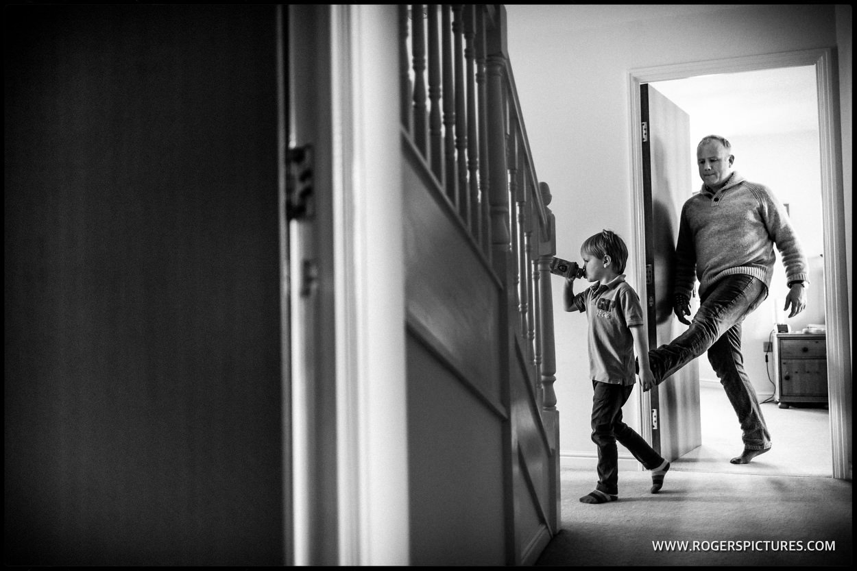Son and Dad in a hallway