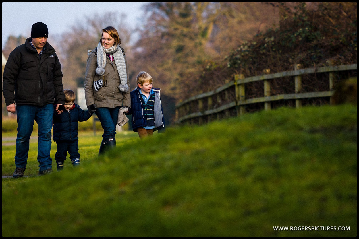 Family out walking