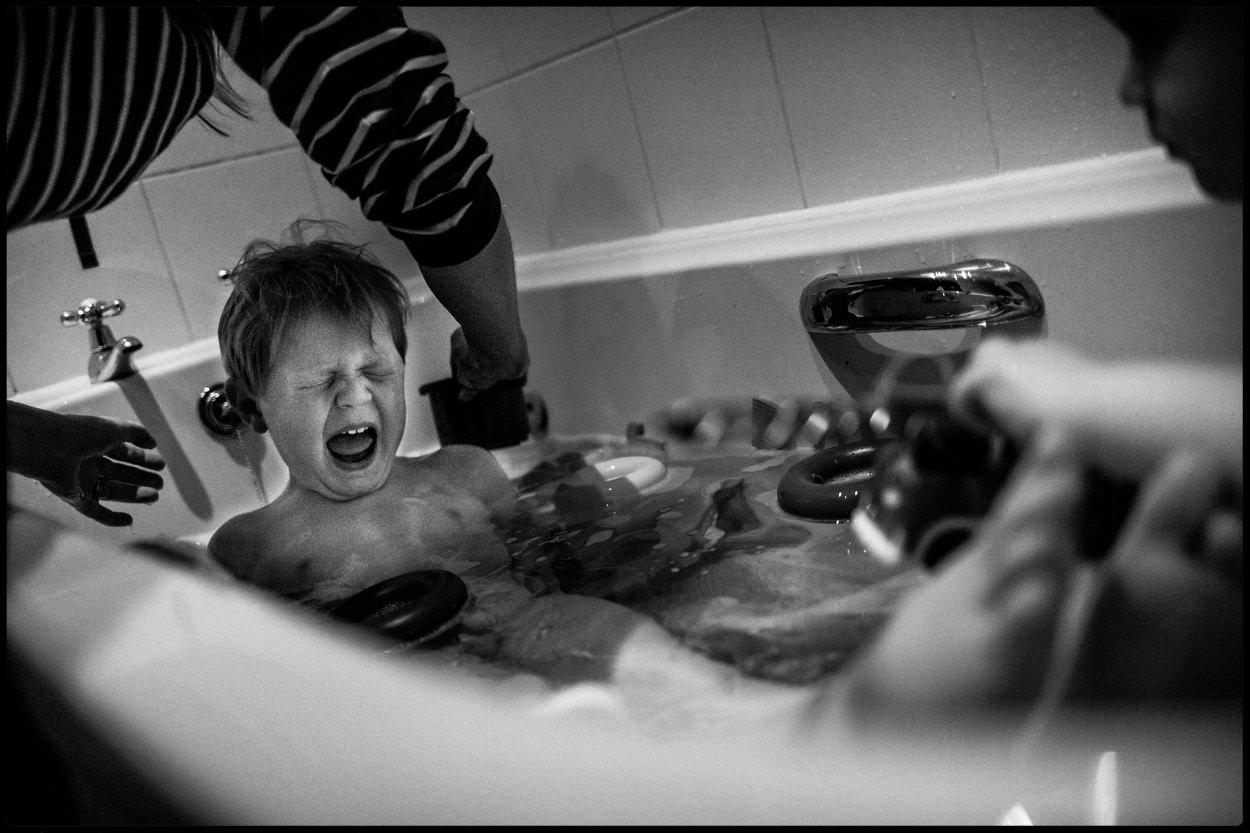 Screams at bath time