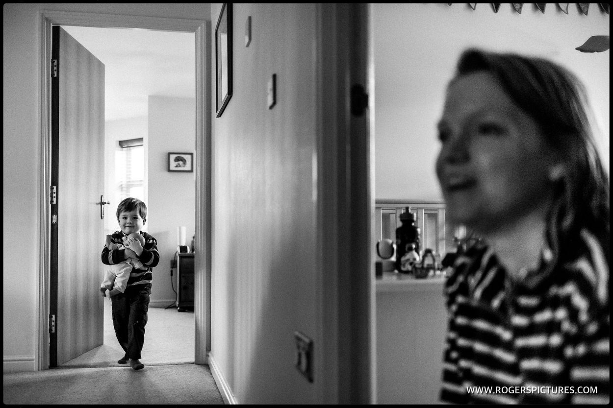 Toddler and mother in corridor