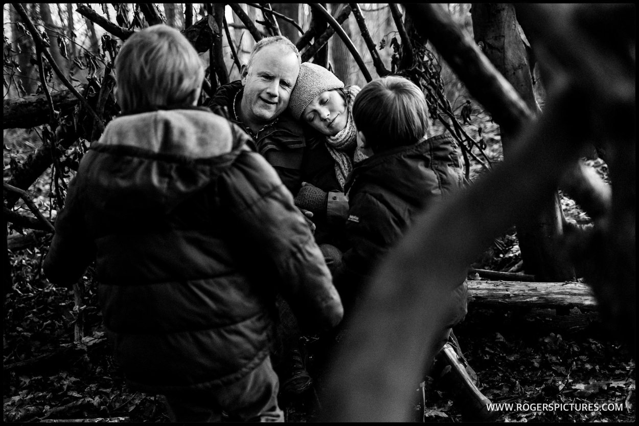 reportage of family in the woods