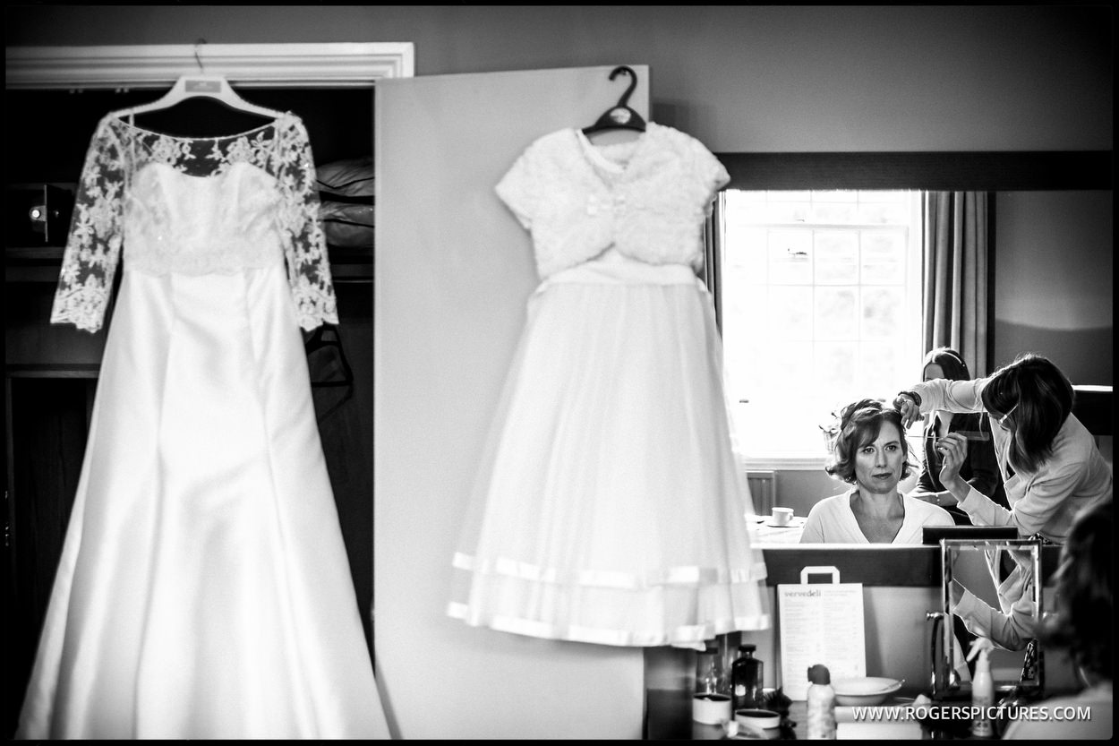 Bride getting ready at Gorse Hill before her wedding