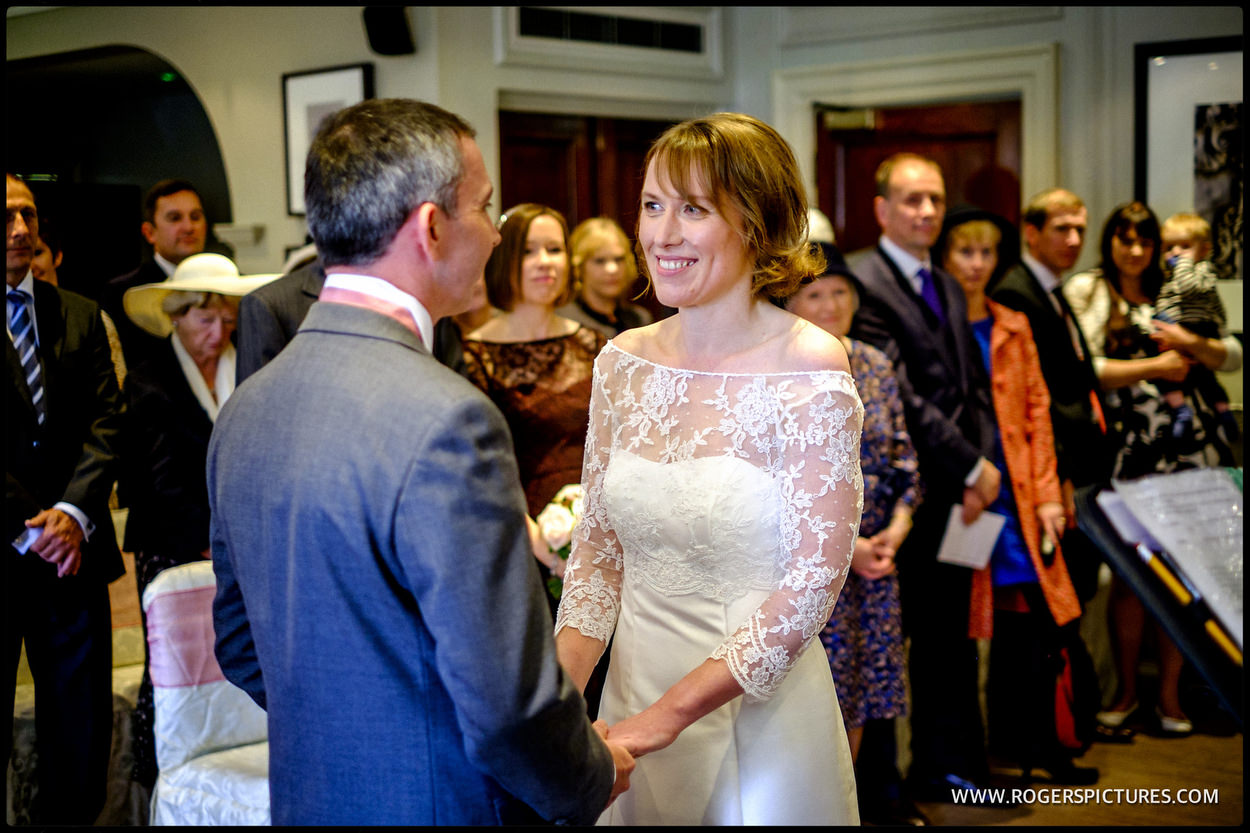 Wedding ceremony at Gorse Hill in Surrey