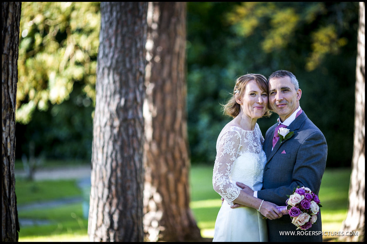 Portrait of a bride and groom at Gorse Hill