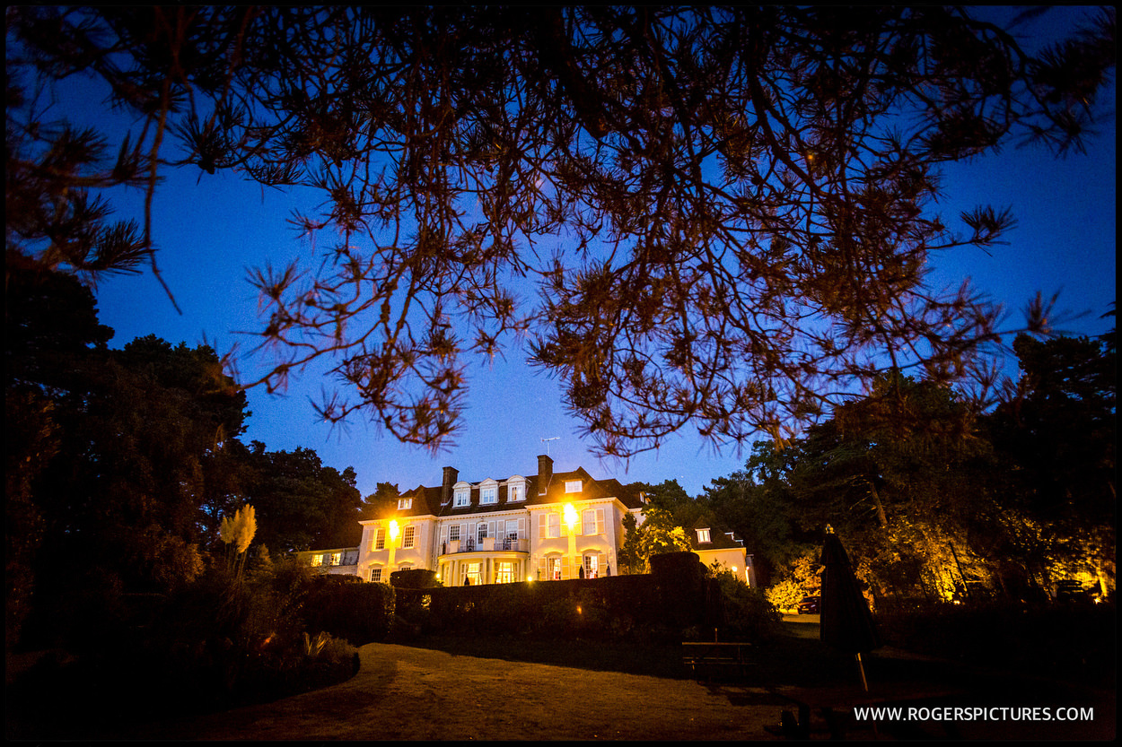 Photo of Gorse Hill wedding venue at dusk