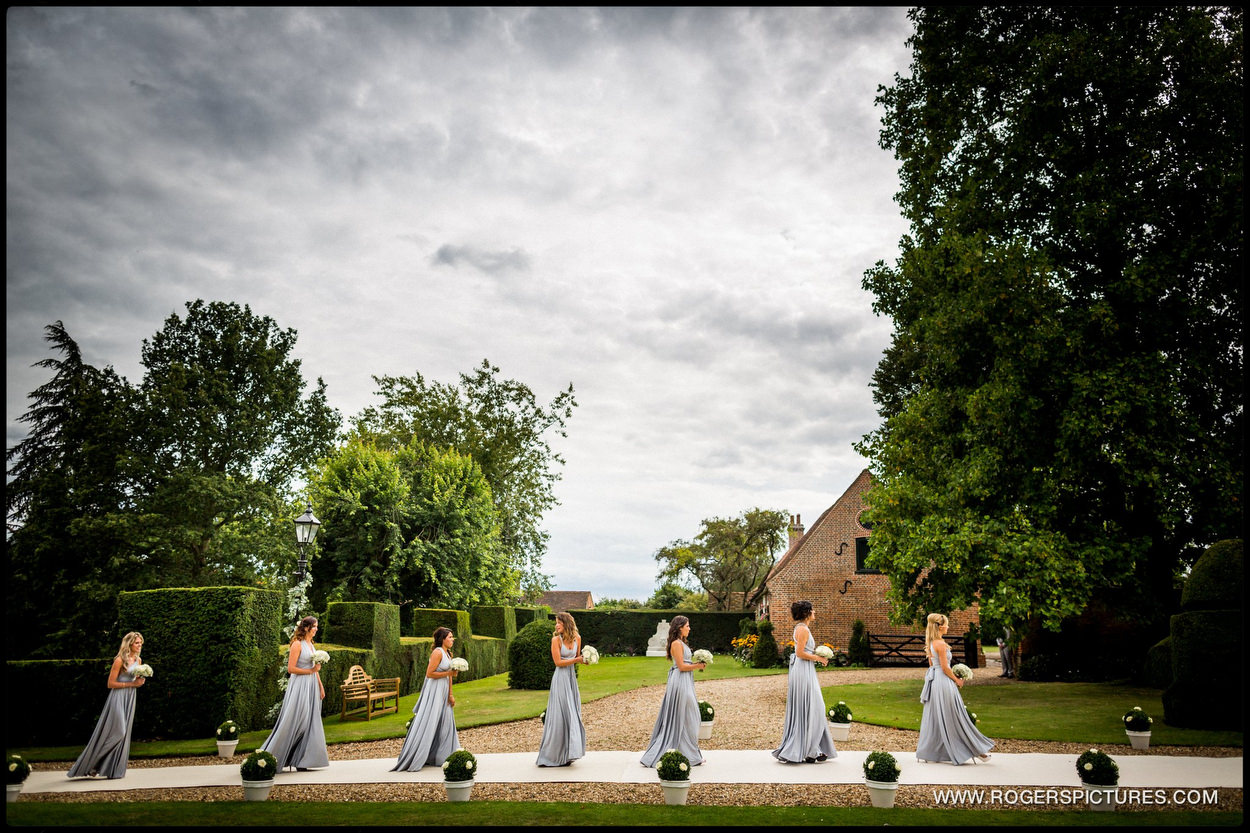 Harpenden wedding photographer bridesmaids in blue dresses