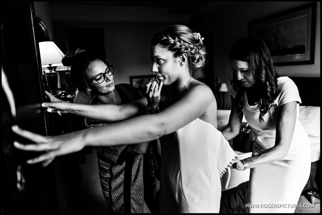 Brides prep at a London wedding