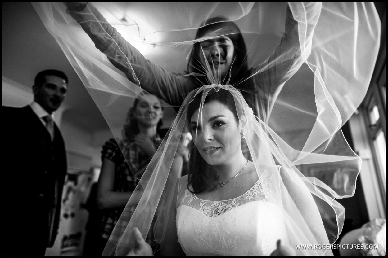 Jewish wedding bride in veil