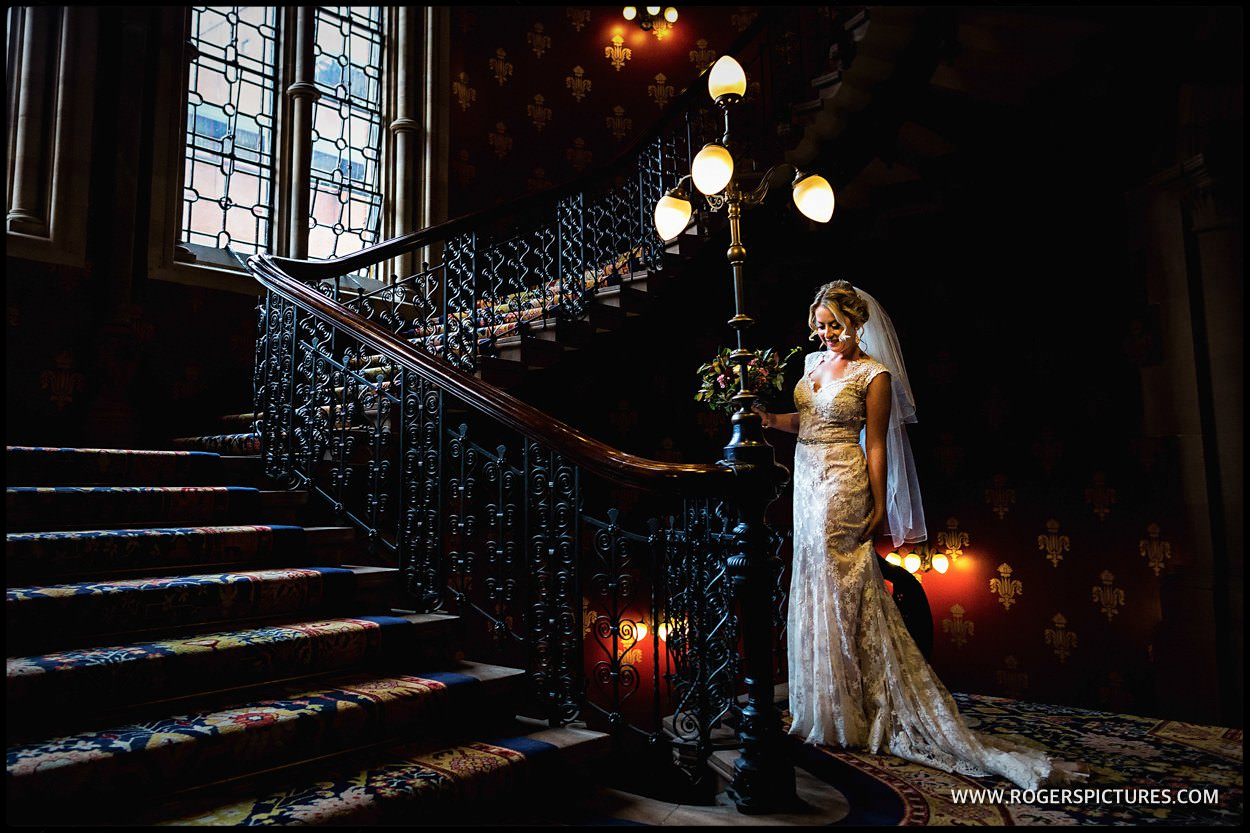 Bridal portrait on Spice Girls stair away at St Pancras Hotel