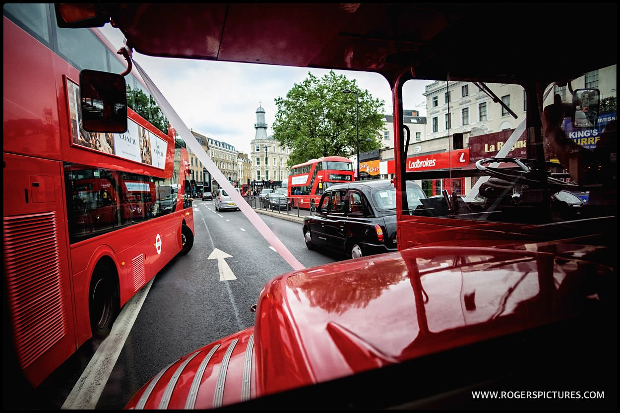 London wedding double-decker bus