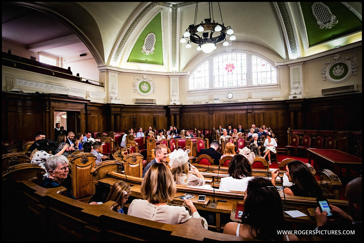 The council chamber in Islington town Hall for a London wedding