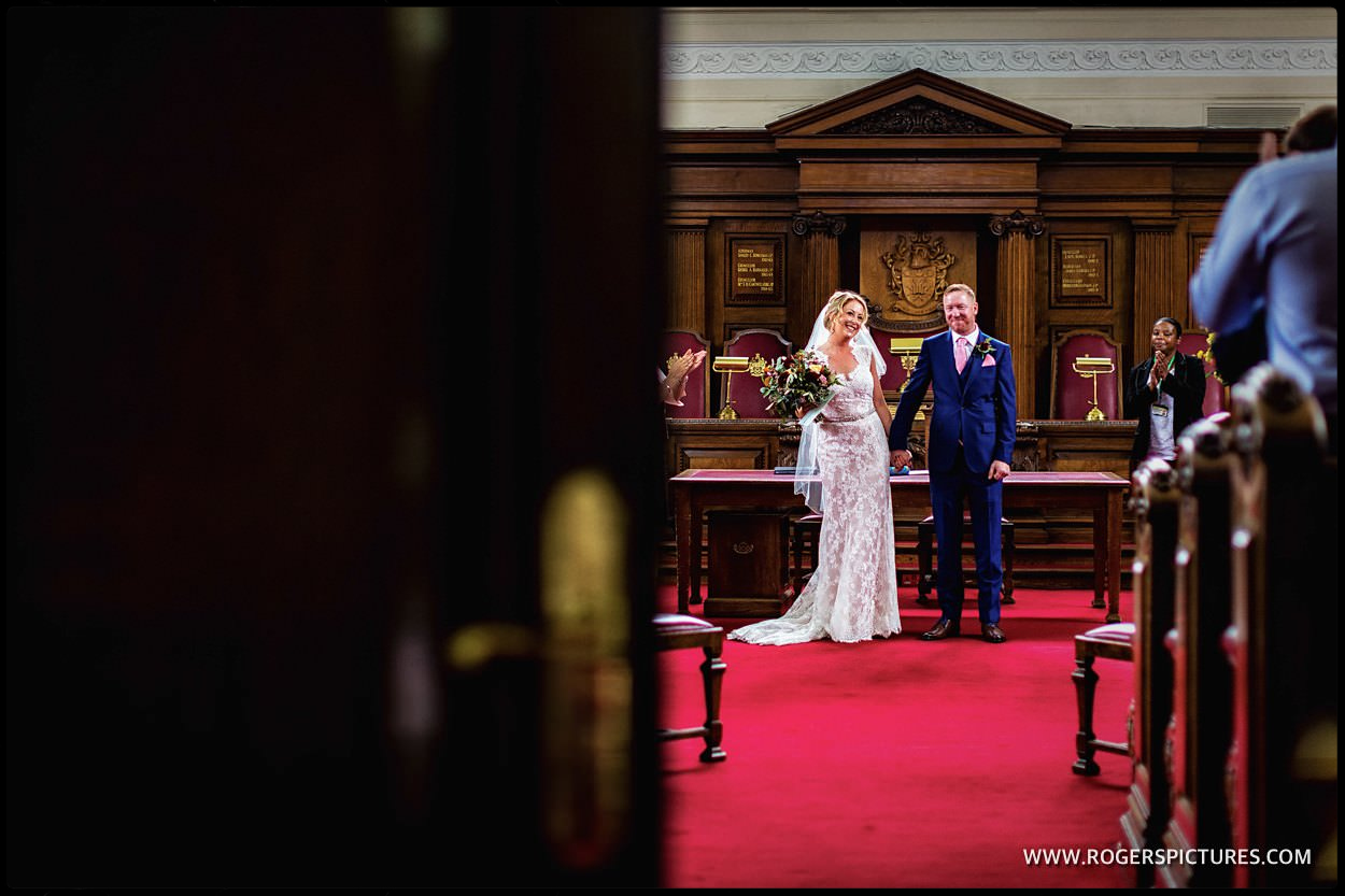 Newlyweds in Islington town Hall