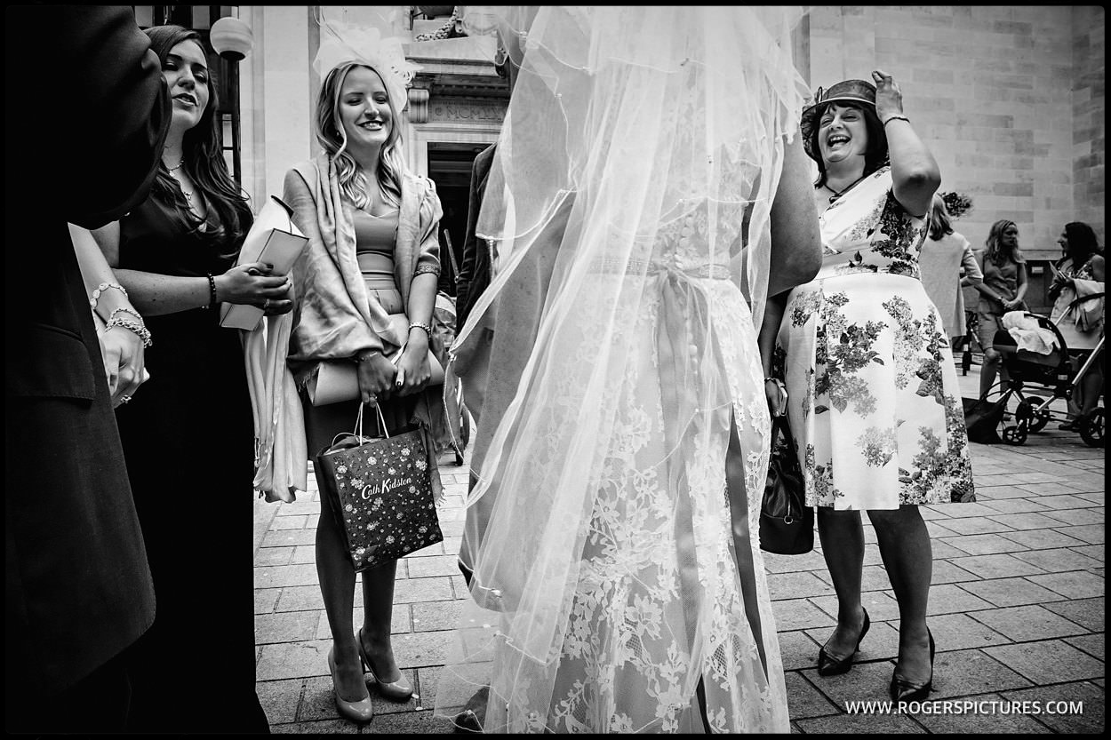 Guests at a London town Hall wedding