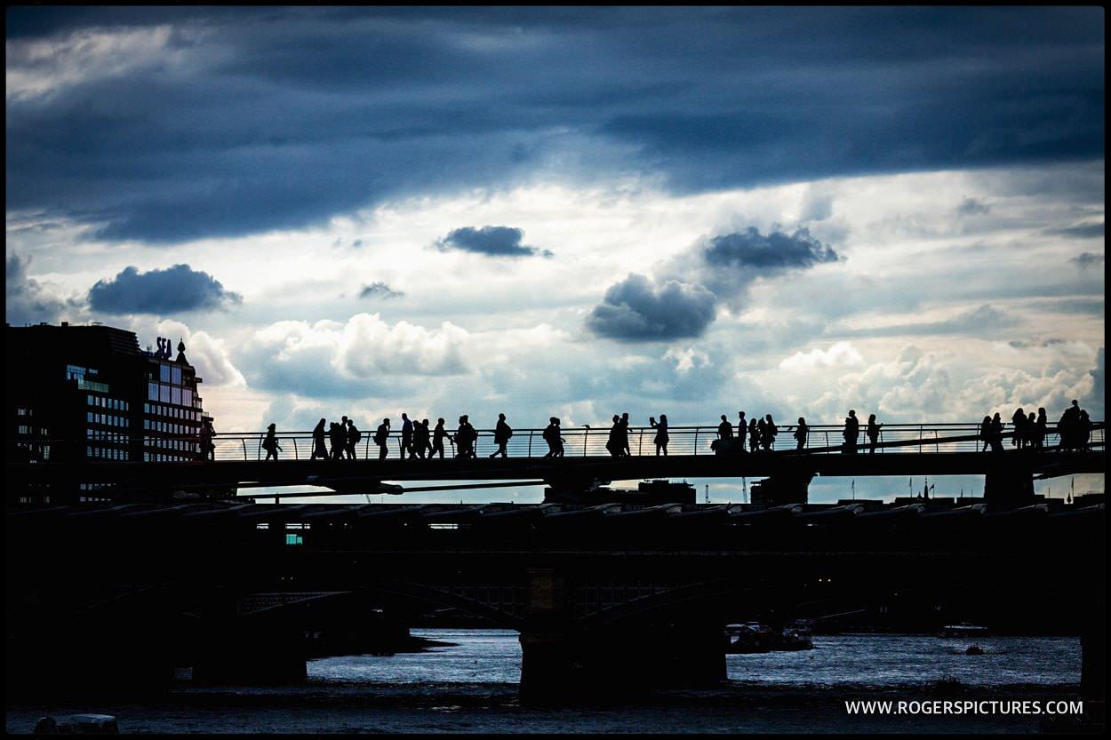 Millennium bridge silhouettes