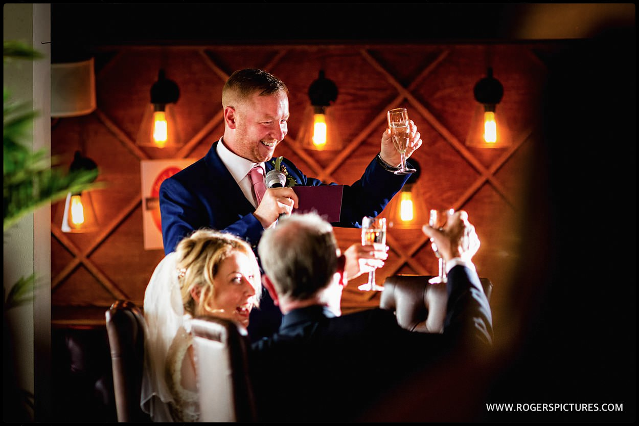 Groom gives toast at the Pepys