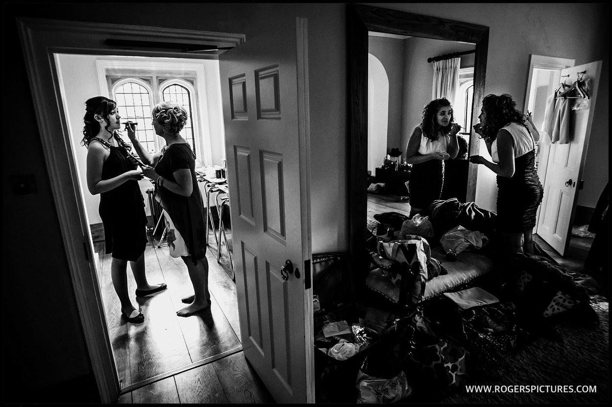 Black and white photo of bridal prep at Notley Abbey in Buckinghamshire