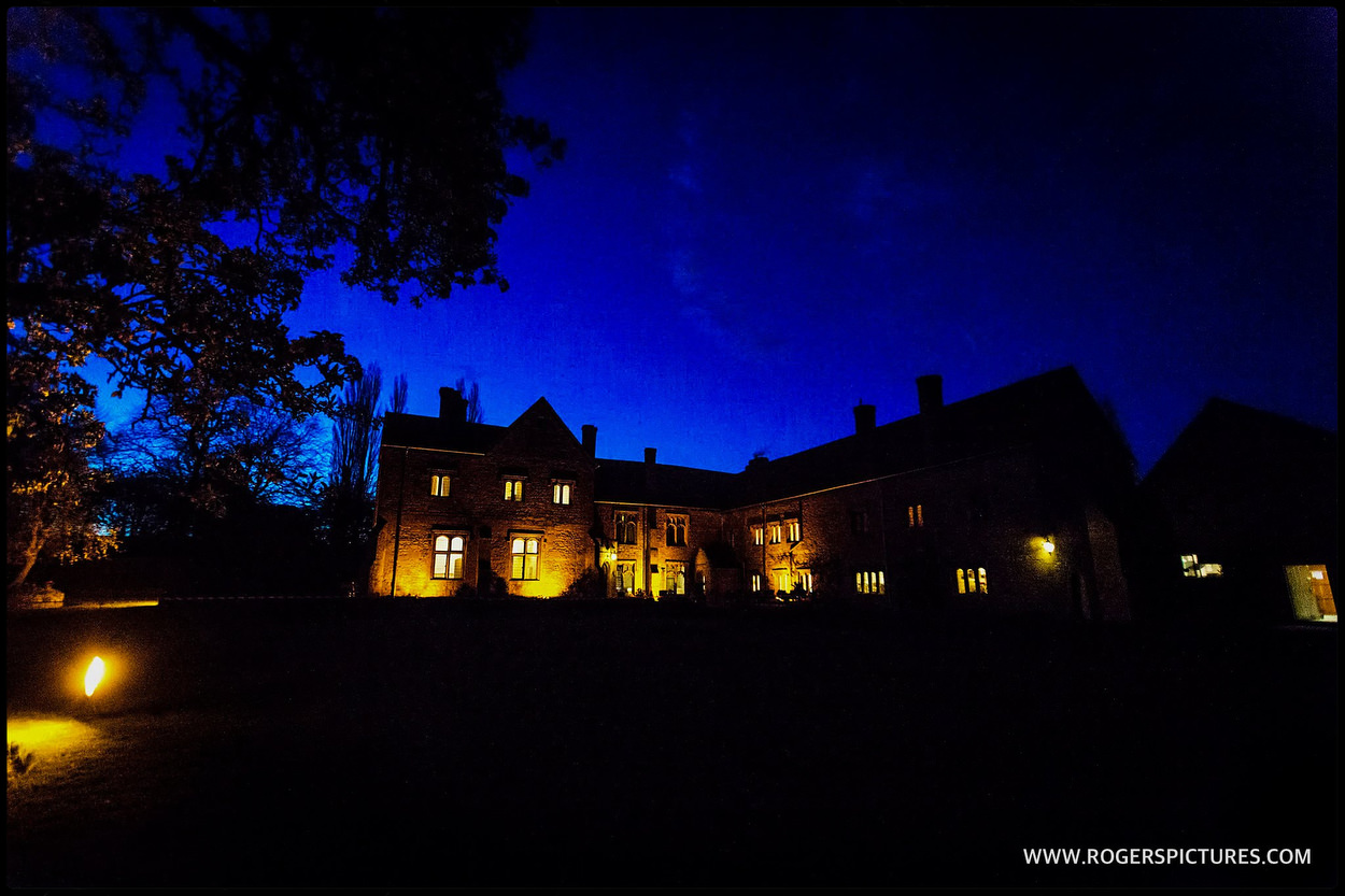 Buckinghamshire wedding venue at dusk