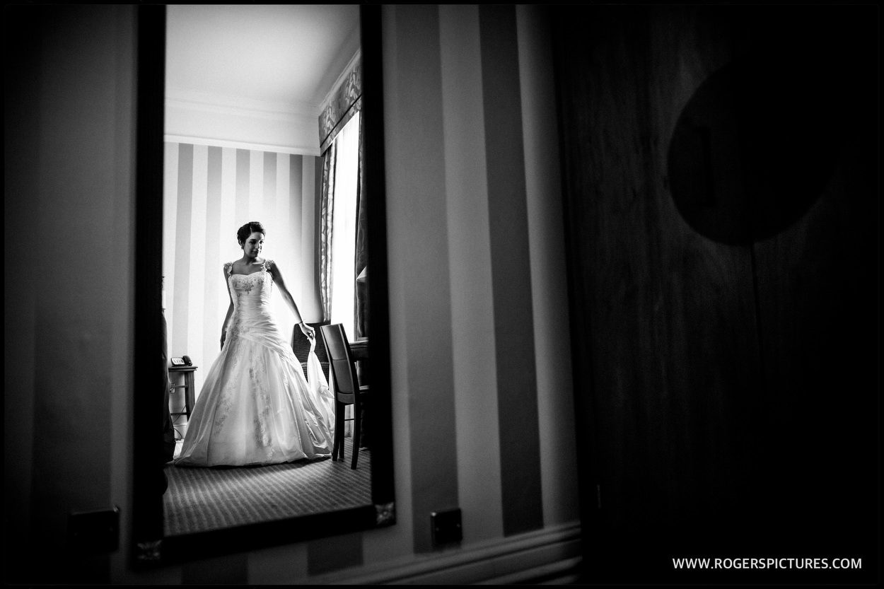 Bride in her wedding dress at Richmond Hotel in London