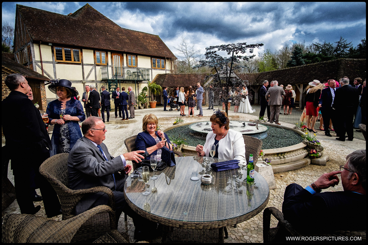 The courtyard at a Rivervale Barn wedding in Hampshire
