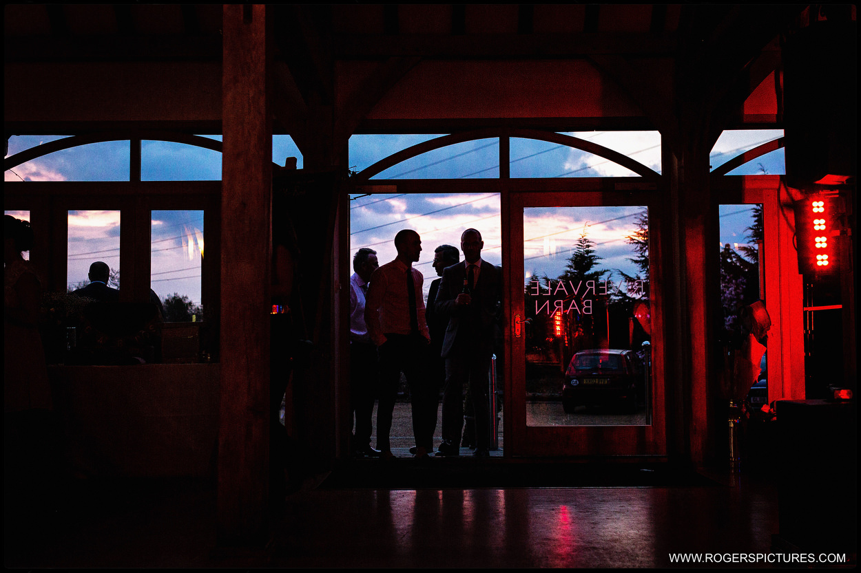 Rivervale Barn wedding reception in the evening