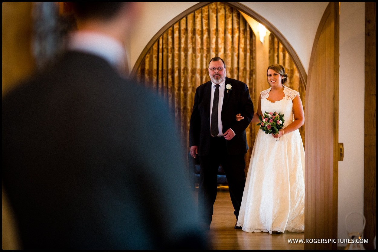 Entrance of the Bride and her father at Rivervale Barn