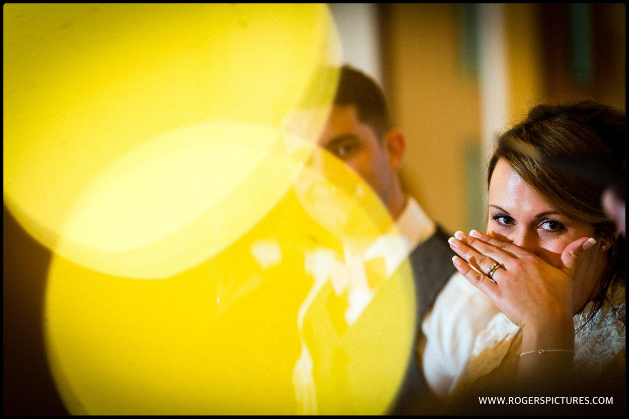 Bride laughing during the speeches at Rivervale balm
