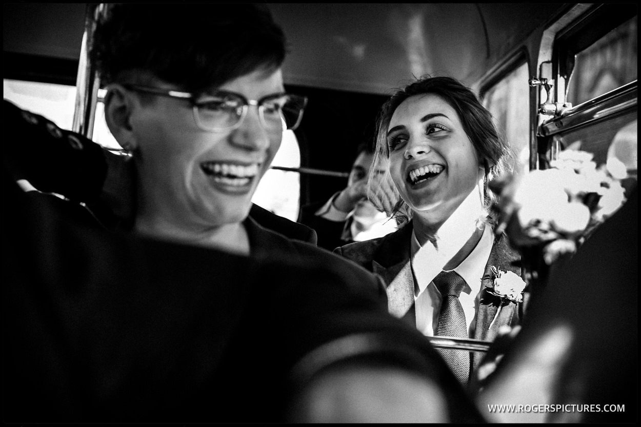 Wedding guests on London bus