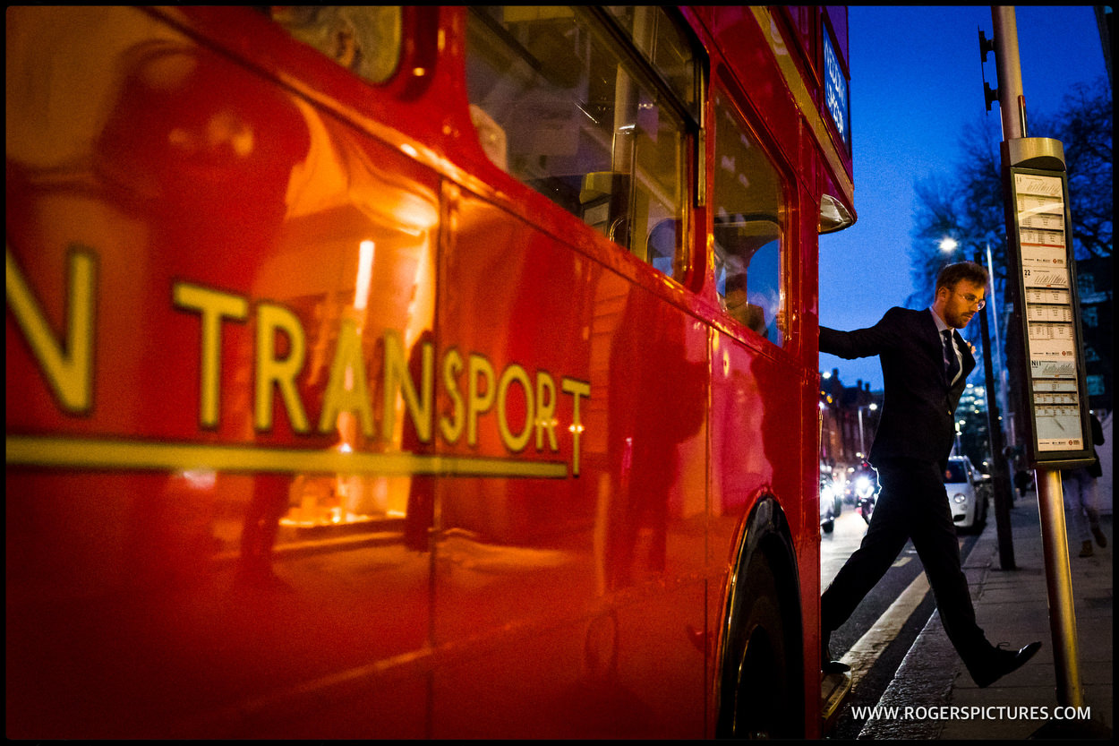 London wedding bus in the evening