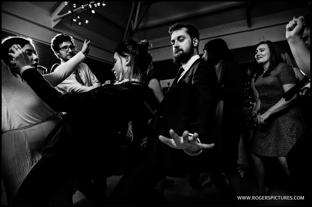 Bluebird chelsea wedding reception in black and white