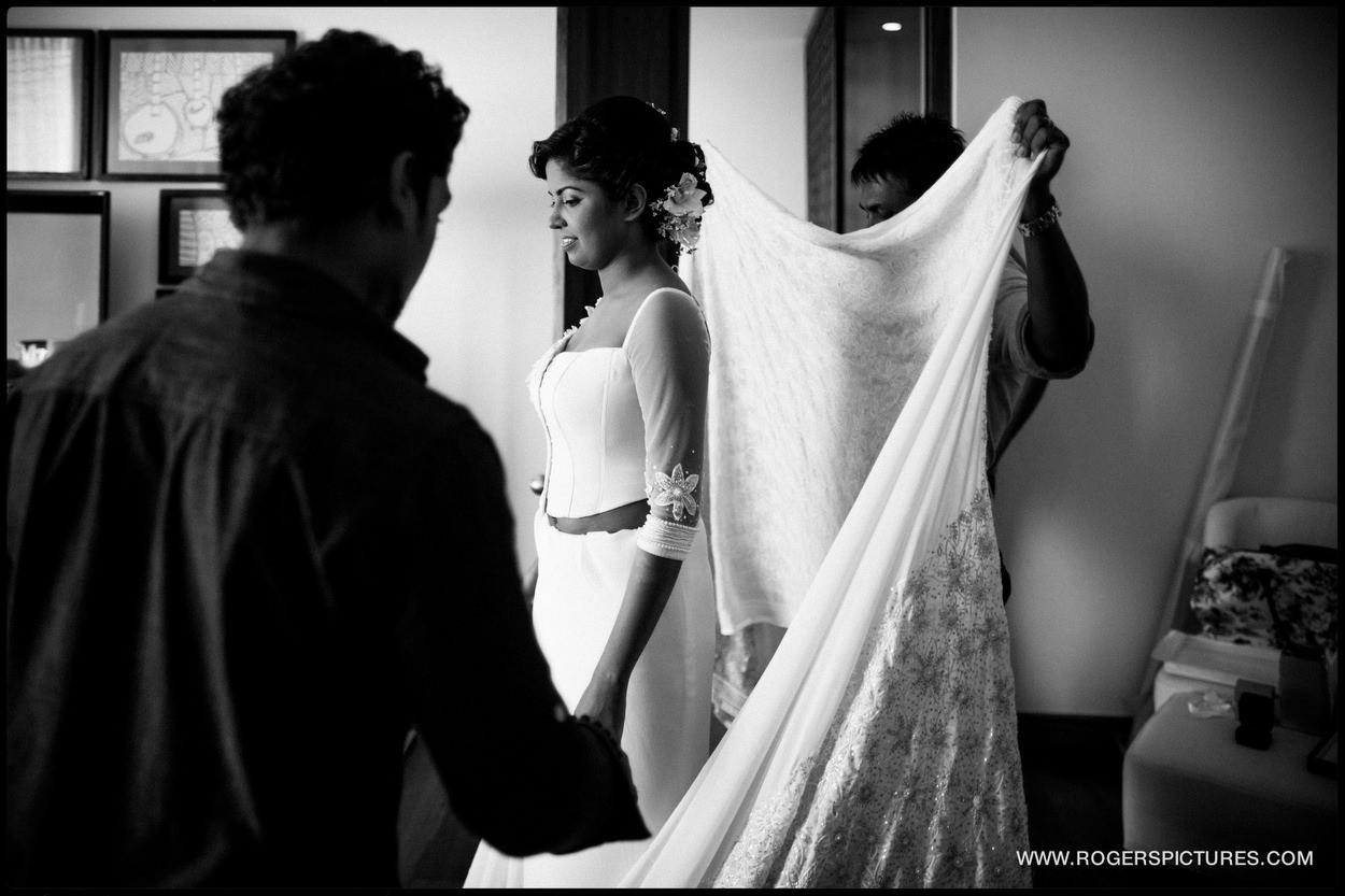 Bride and veil at a destination wedding in Sri Lanka