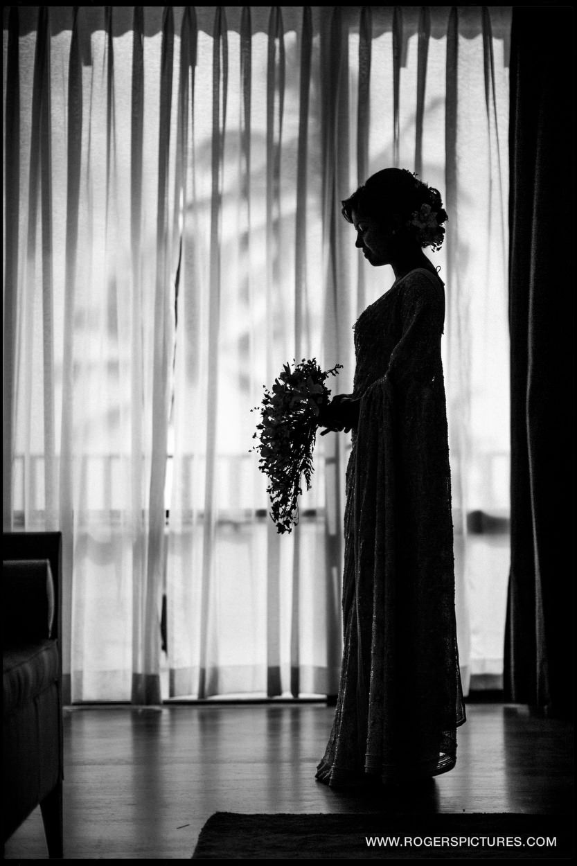 Silhouette photograph of a bride before her wedding in Sri Lanka