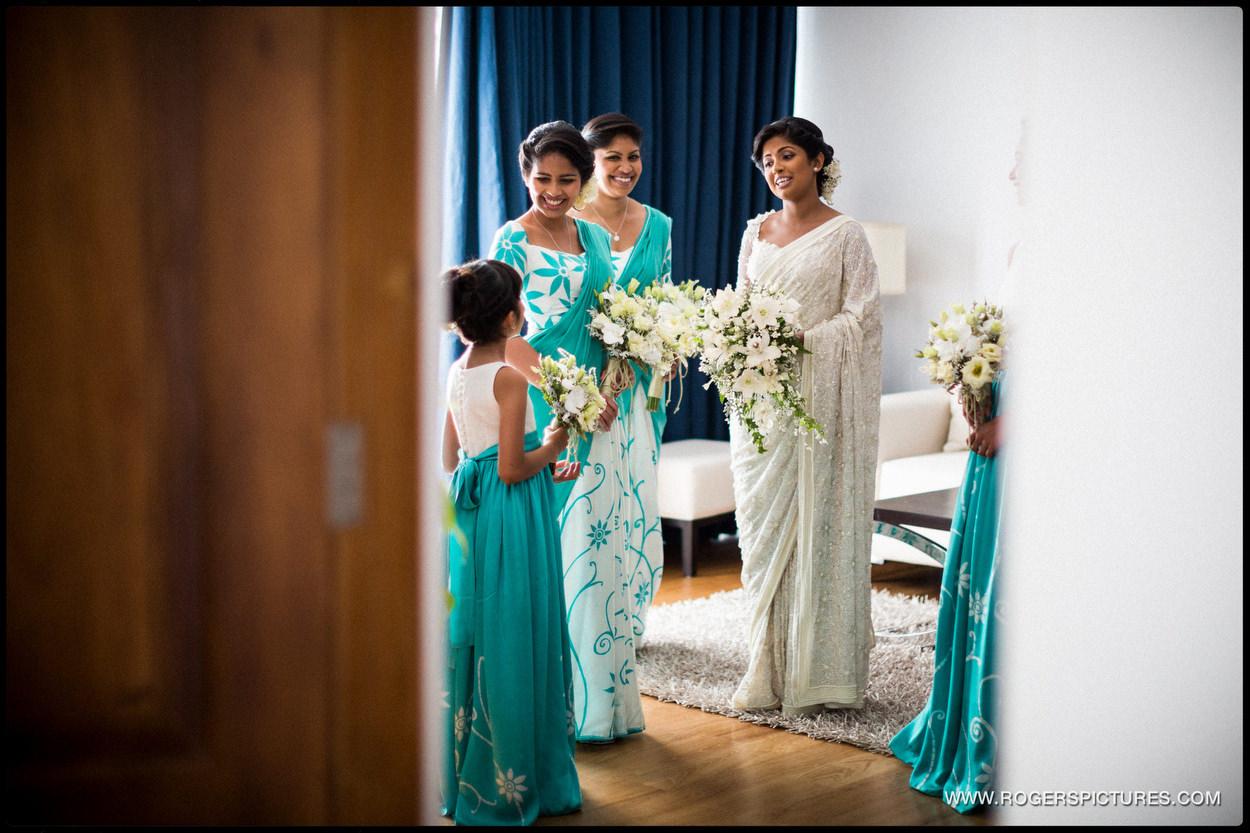 Bride and bridesmaids ready for a wedding