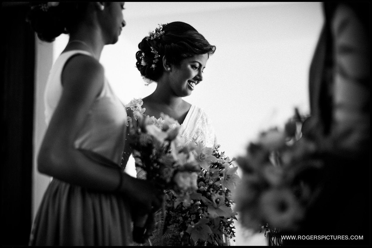Beautiful natural black and white picture of a bride