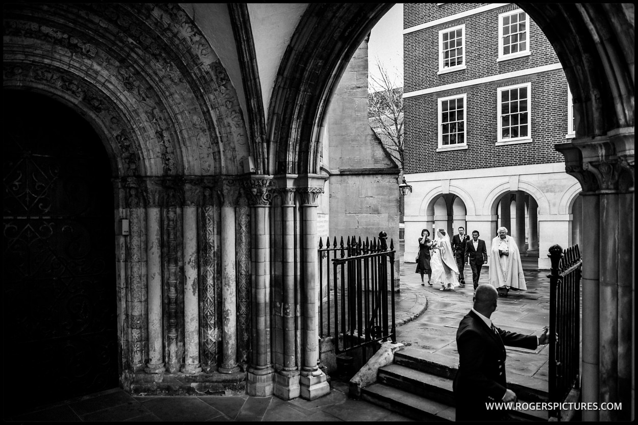 Bride arriving for a wedding at Temple Church