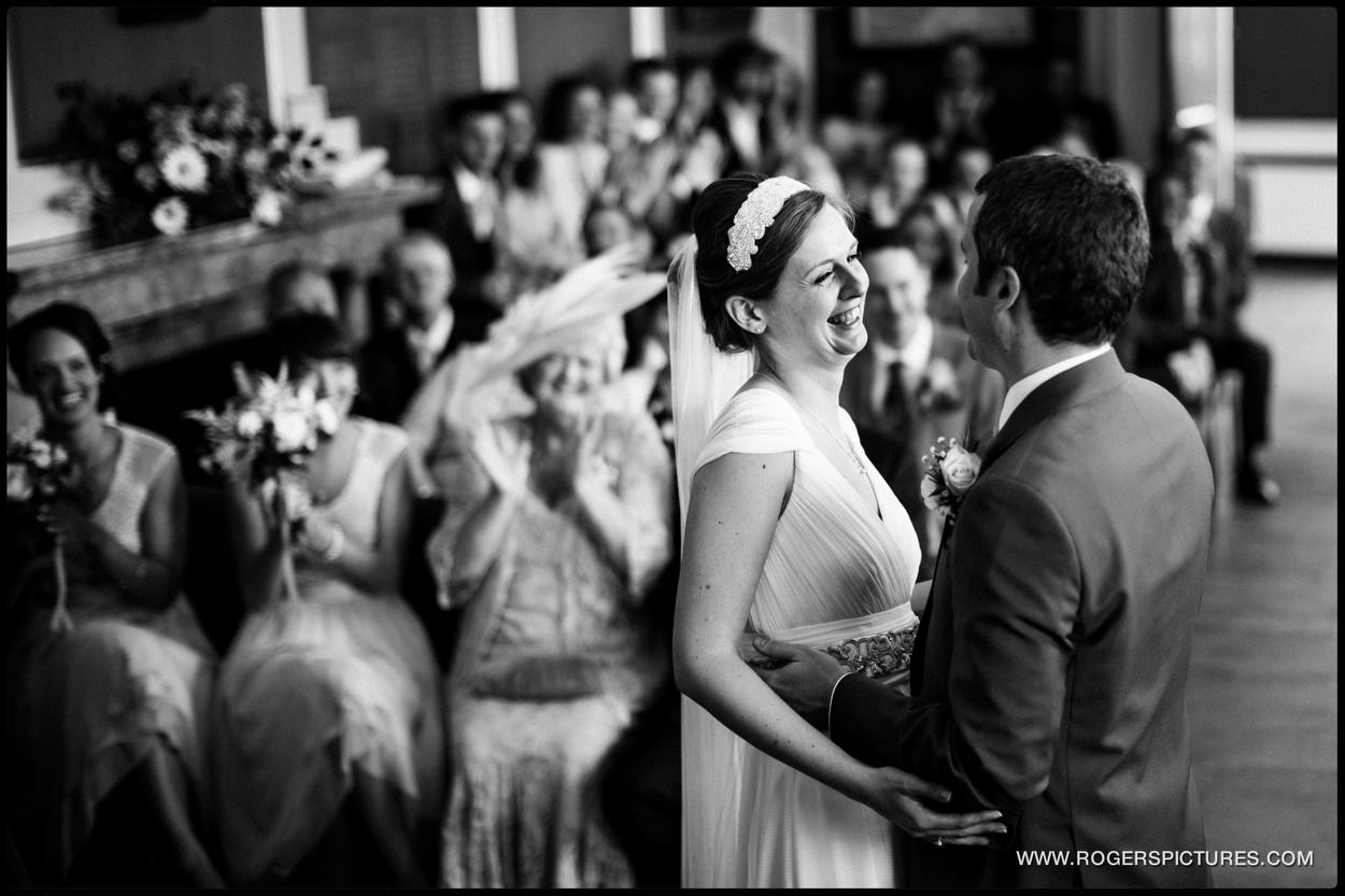 Bride and groom married in Rye Town Hall