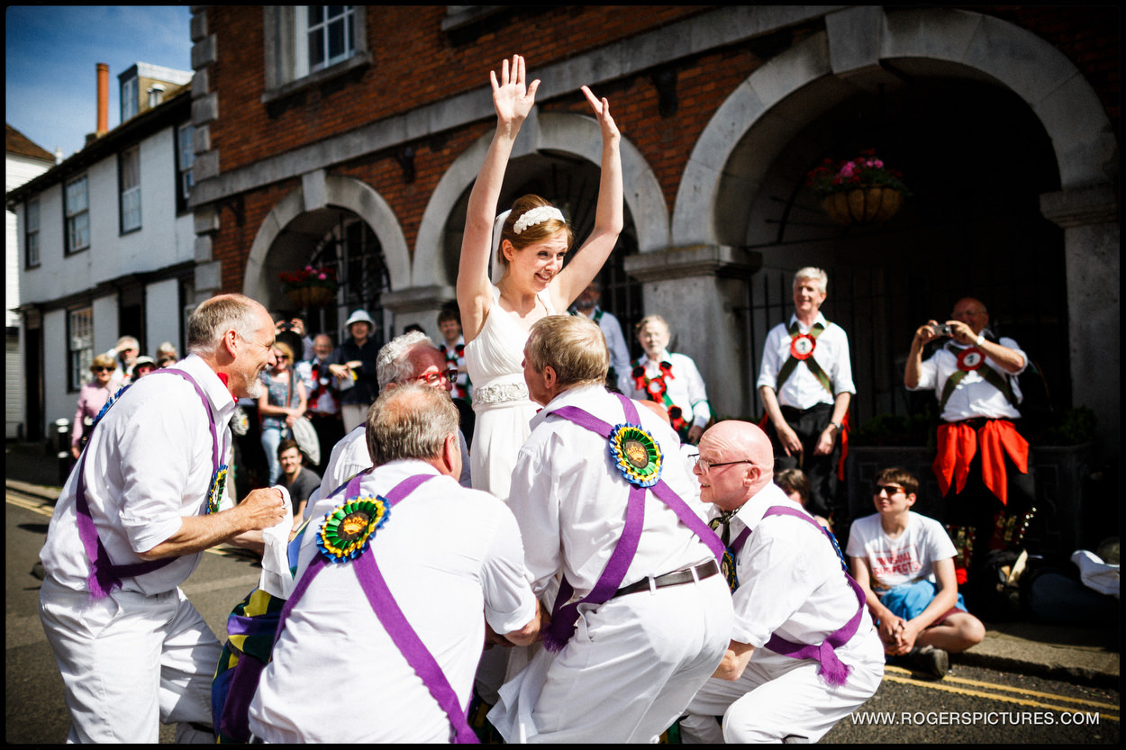 Brighton Camp dance with a bride and morris dancers
