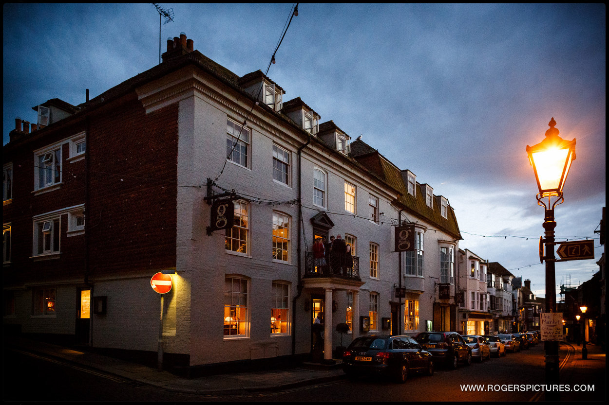 The George in Rye wedding venue by evening light