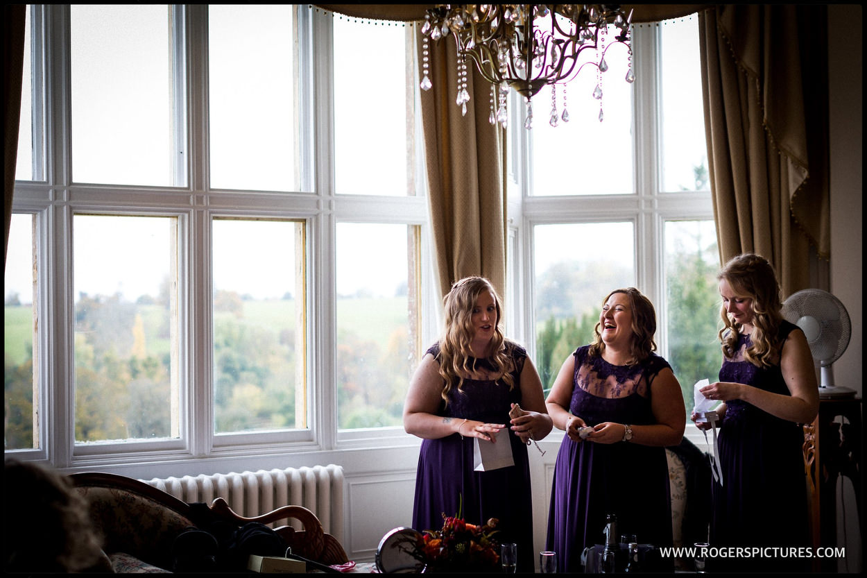 Laughing bridesmaids at Orchardleigh House