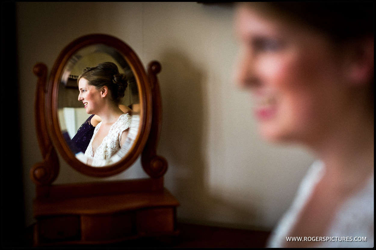 Picture of the bride before a wedding in Somerset