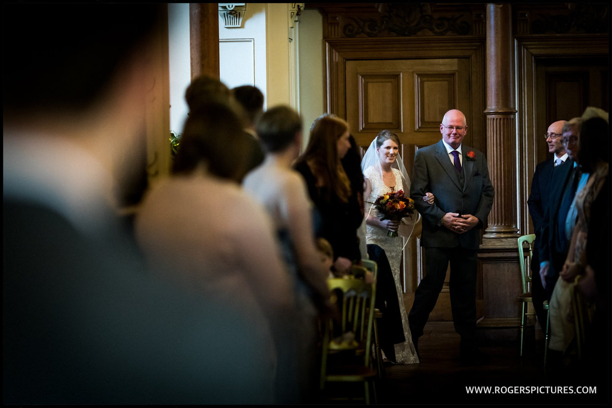 Father and daughter walked into wedding ceremony at Orchardleigh House in Frome